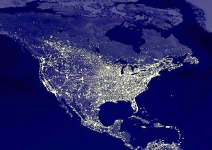 Satellite view of the US at night